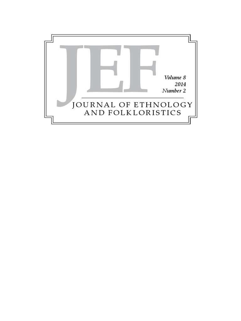 Journal of Ethnology and Folkloristics